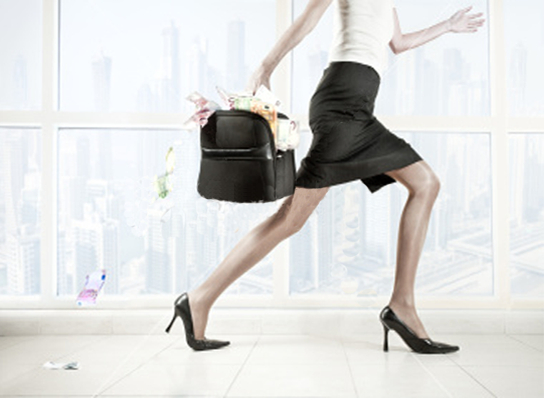 Women with Briefcase full of money