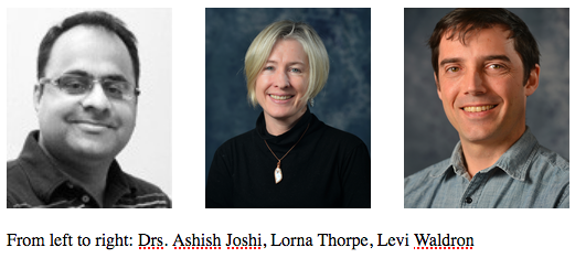 Images of Drs. Ashish Joshi, Lorna Thorpe, and Levi Waldron