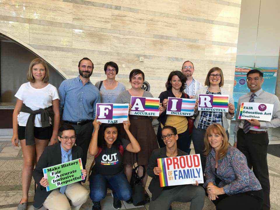 Members of the FAIR Education Act Coalition after testifying at the California Department of Education (August 2017). Photo courtesy Our Family Coalition.