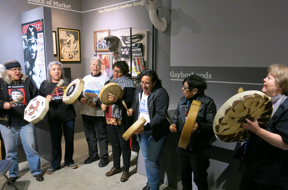 The BAAITS drum circle during a program on Two Spirit history at the GLBT History Museum. Photo: Gerard Koskovich