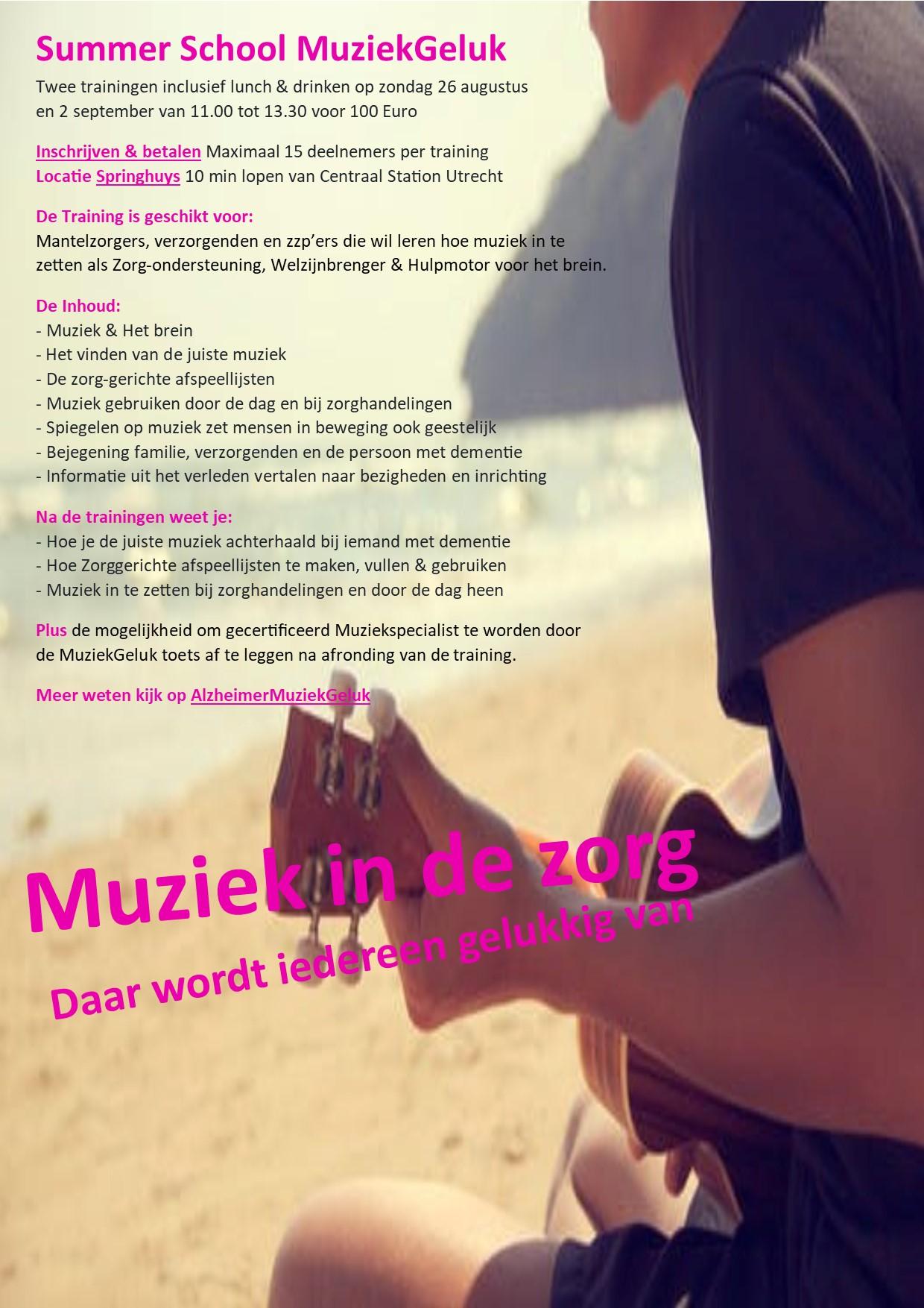 Strand zee met gitaar