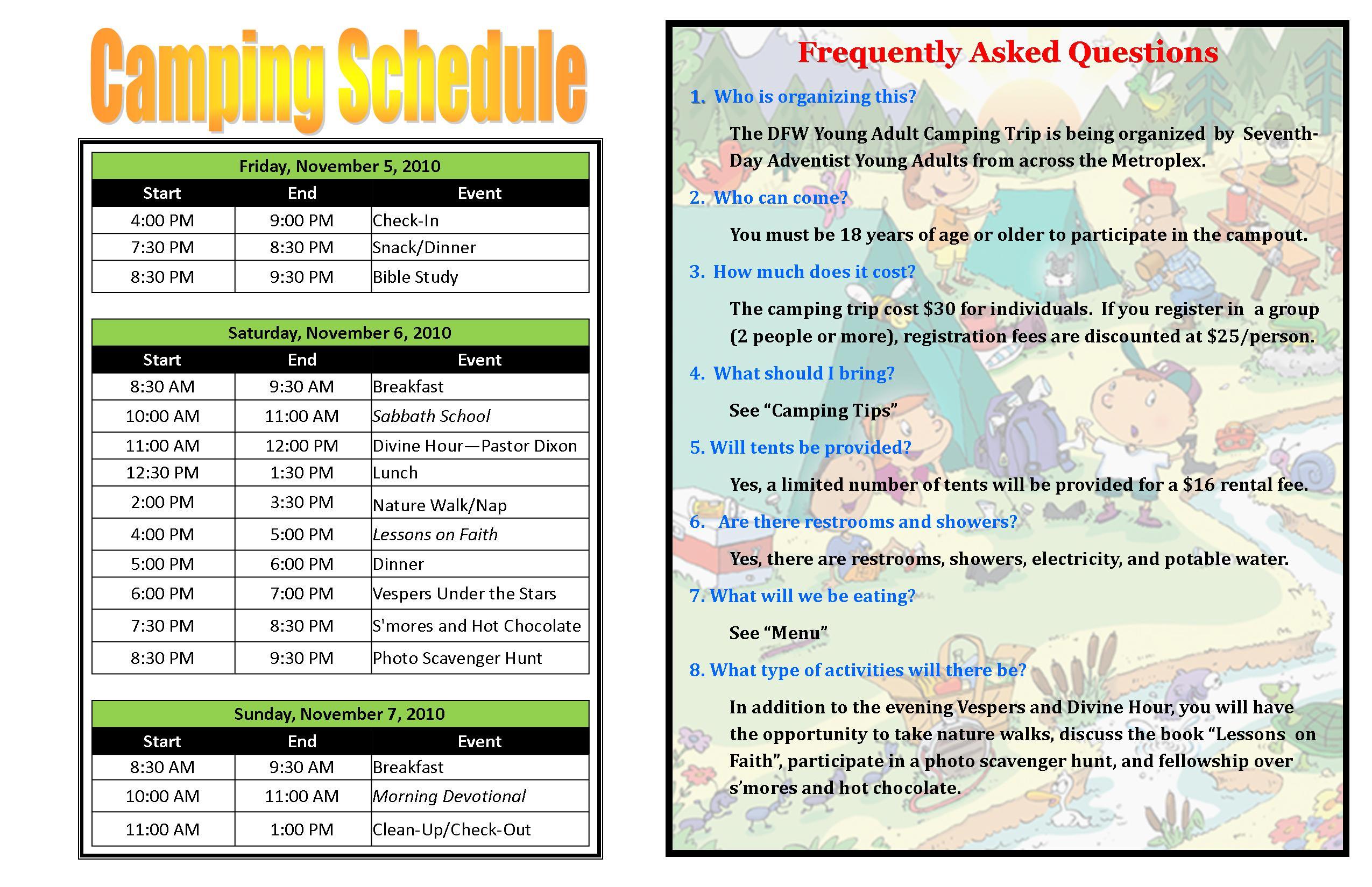 Camping Schedule