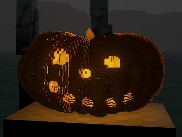 VR pumpkin sculpture