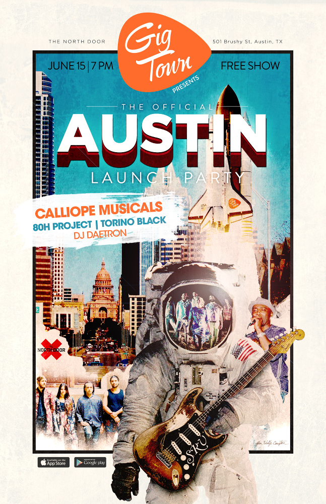 GigTown's Austin Launch Party featuring Calliope Musicals, 80H Project, and Torino Black
