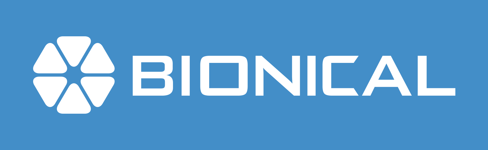 Logo in white text on blue background reads the company name Bionical