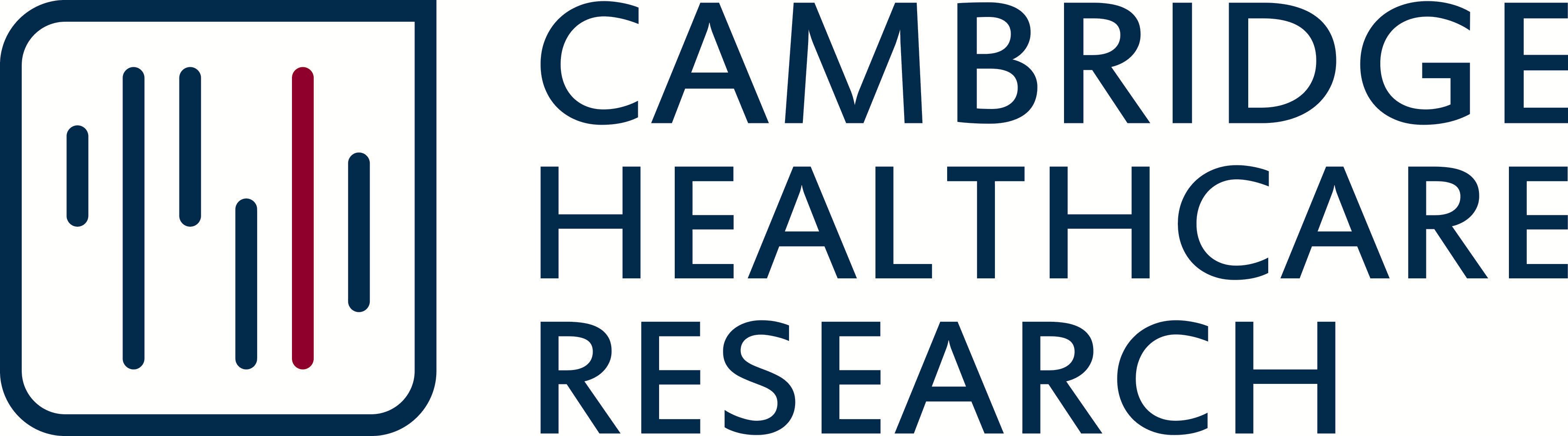 Logo in blue reads Cambridge Healthcare Research