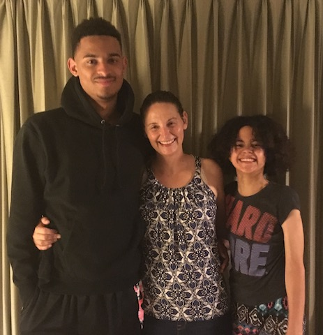 Jackie Pate with her children Ben and Makya