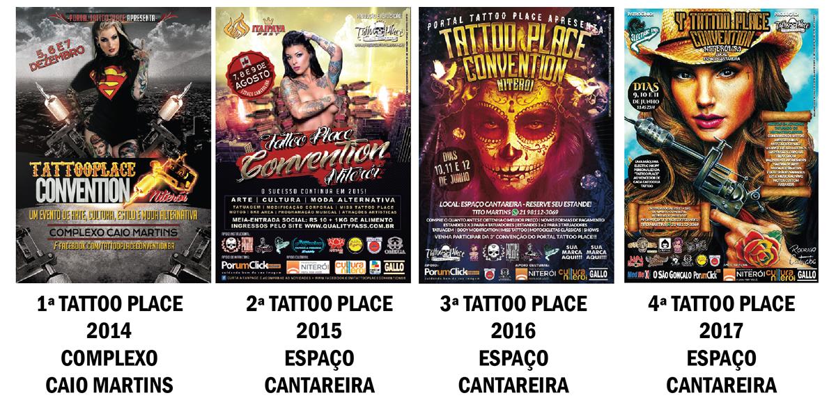 Cartazes das edições passadas do Tattoo Place Festival