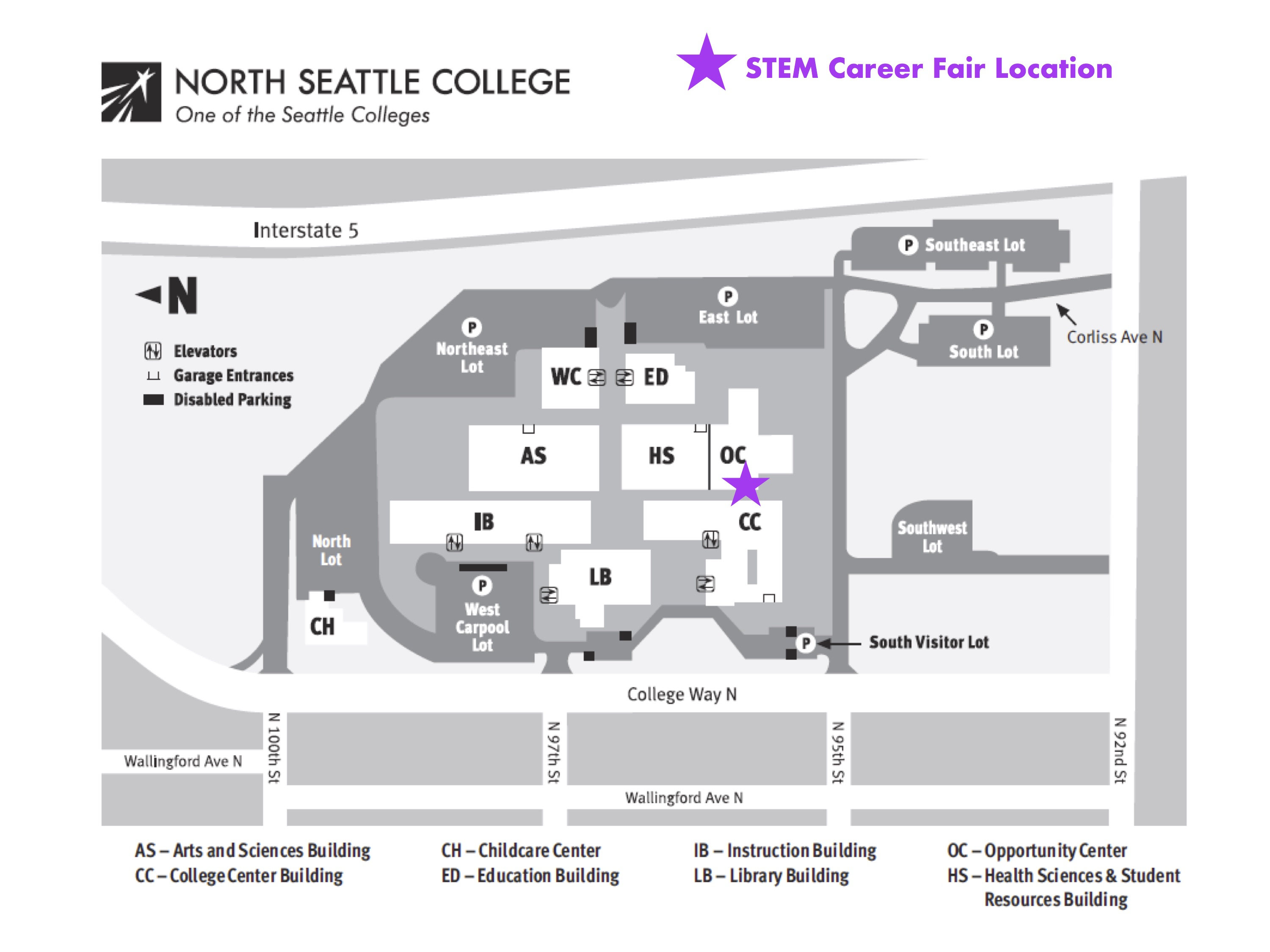 Map for 2017 STEM Career Fair