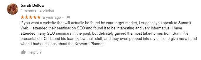 SEO Workshop Testimonial