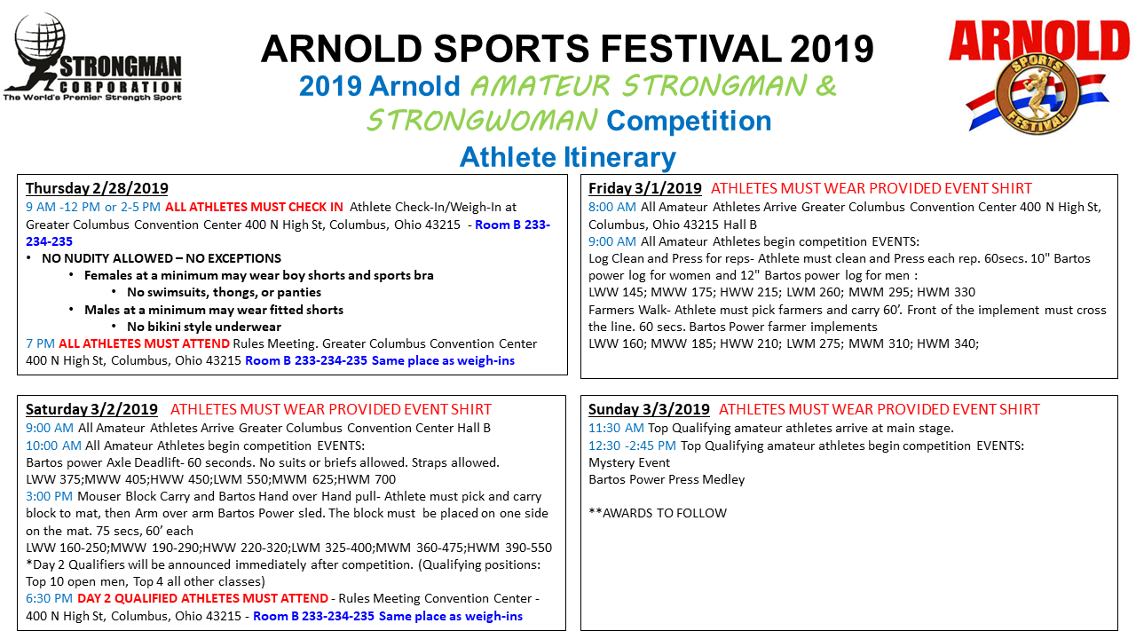 itineray for Arnold weekend