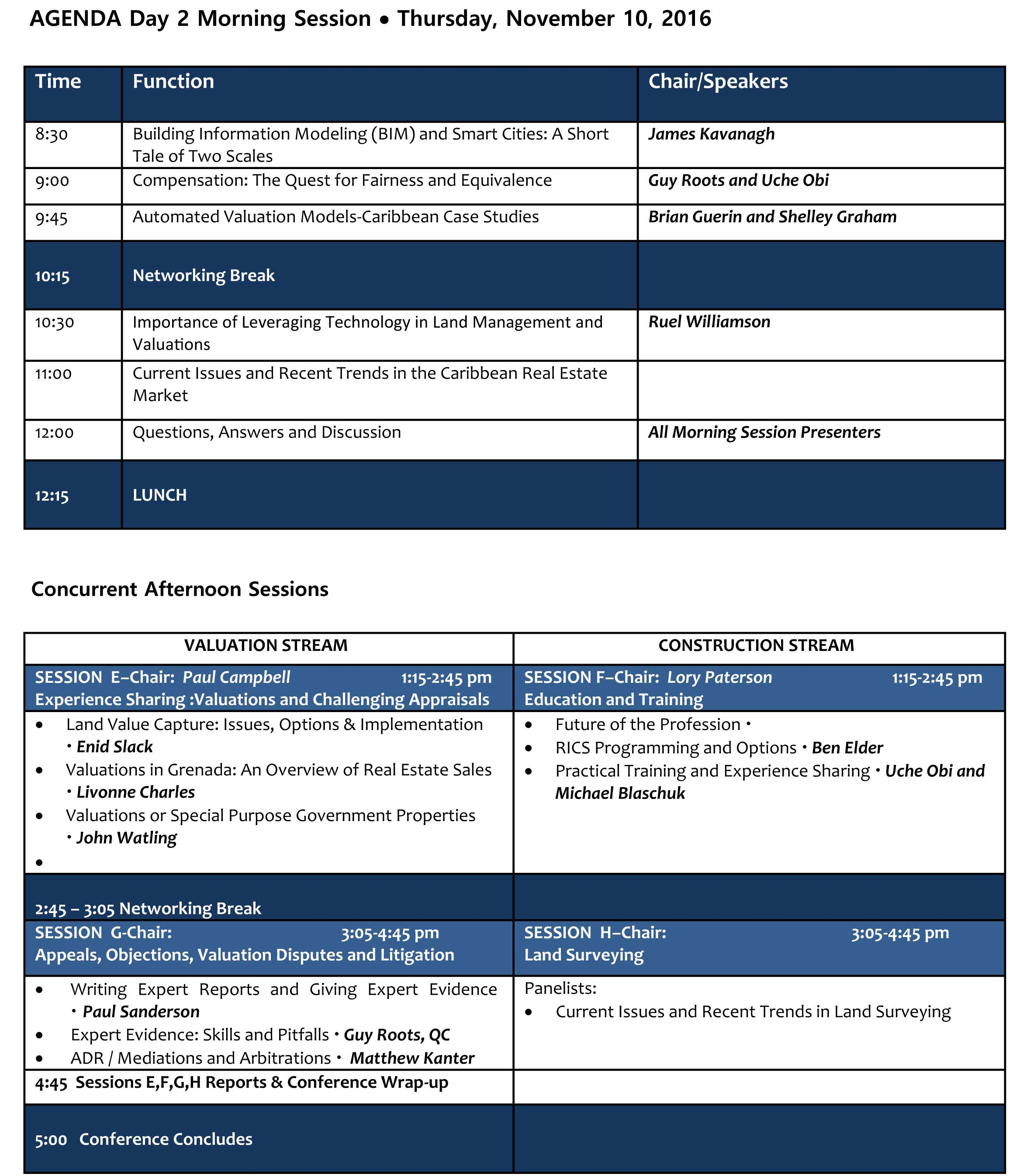 Day 2 Conference Agenda