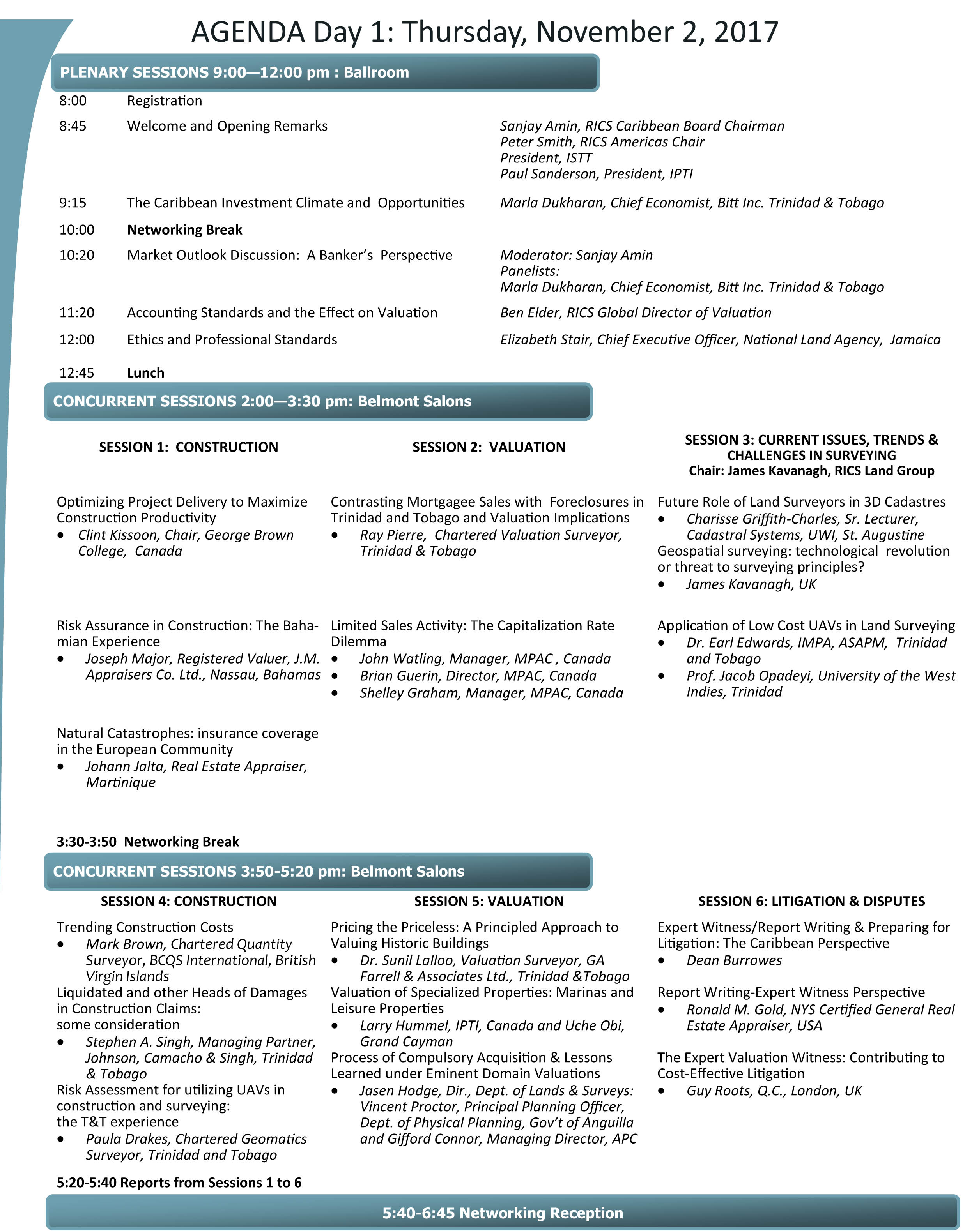 Page 1 of conference agenda