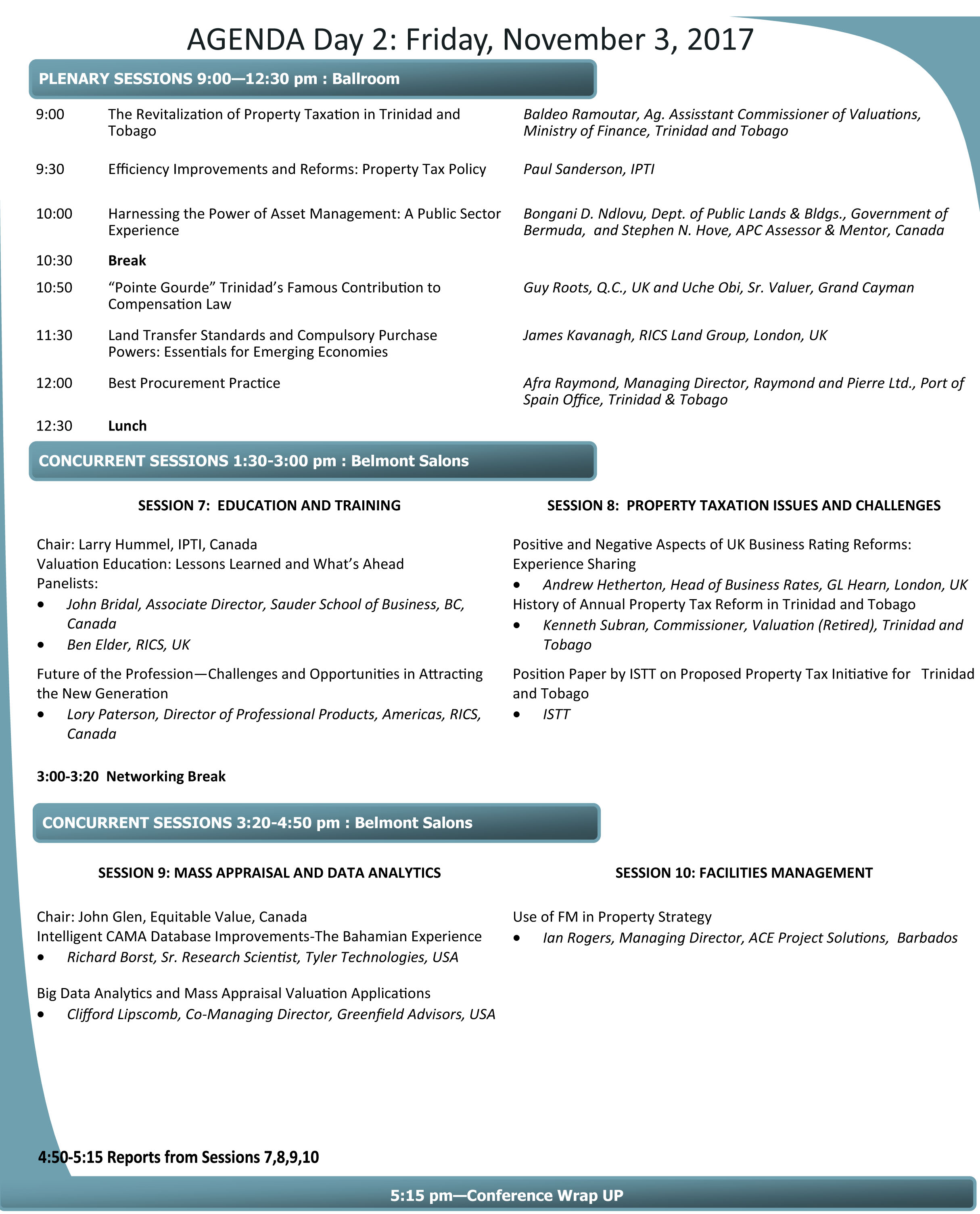 Page 2 of conference agenda