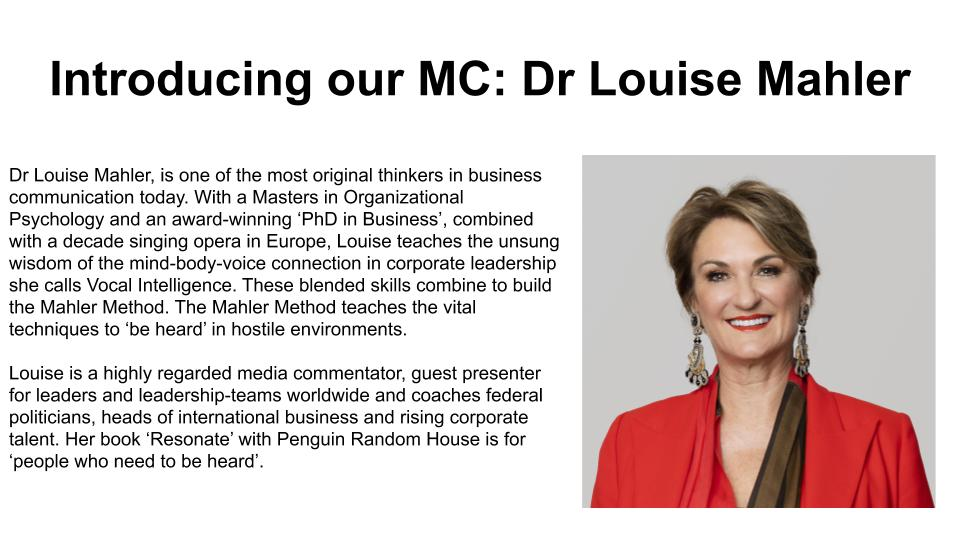 Introducing our MC: Dr Louise Mahler