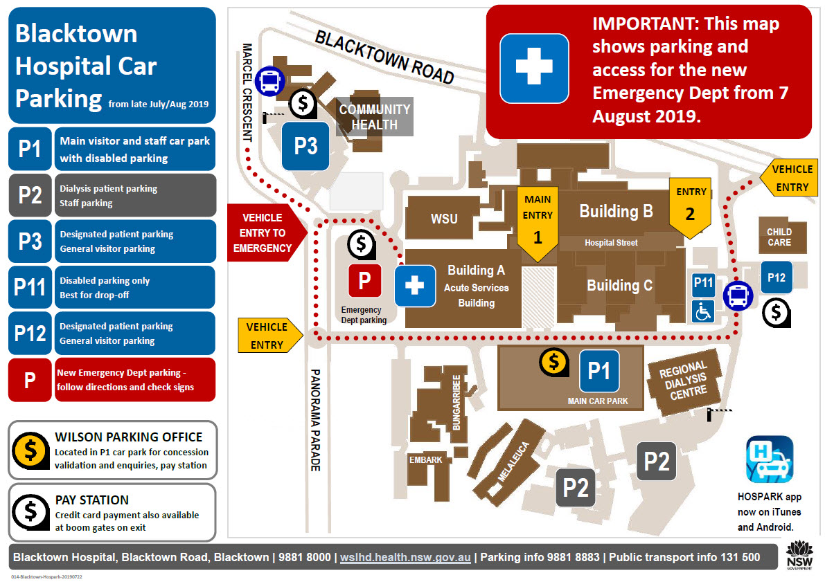 Blacktown Hospital parking map