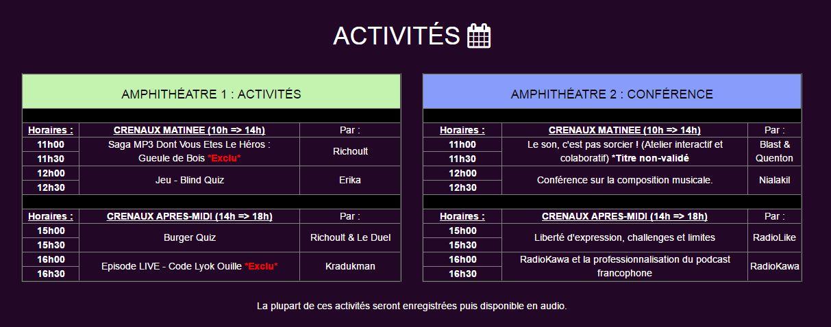 activitées 2017