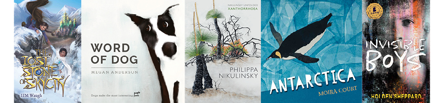 Row of books by Fremantle Press authors