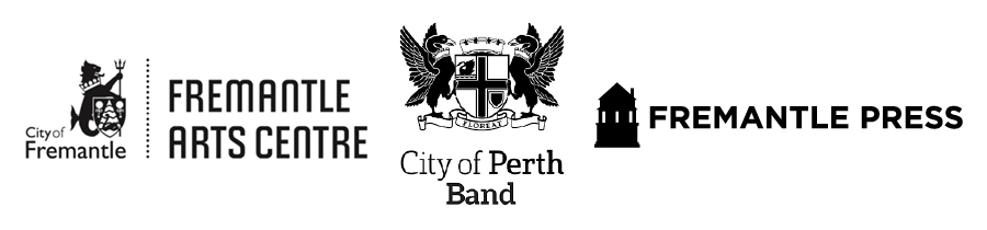 Logos of Fremantle Arts Centre, City of Perth Band and Fremantle Press