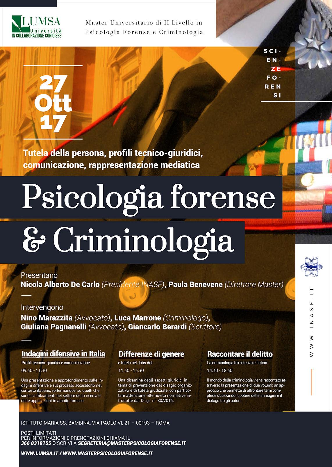 locandina open day 27 ottobre master psicologia forense e criminologia LUMSA