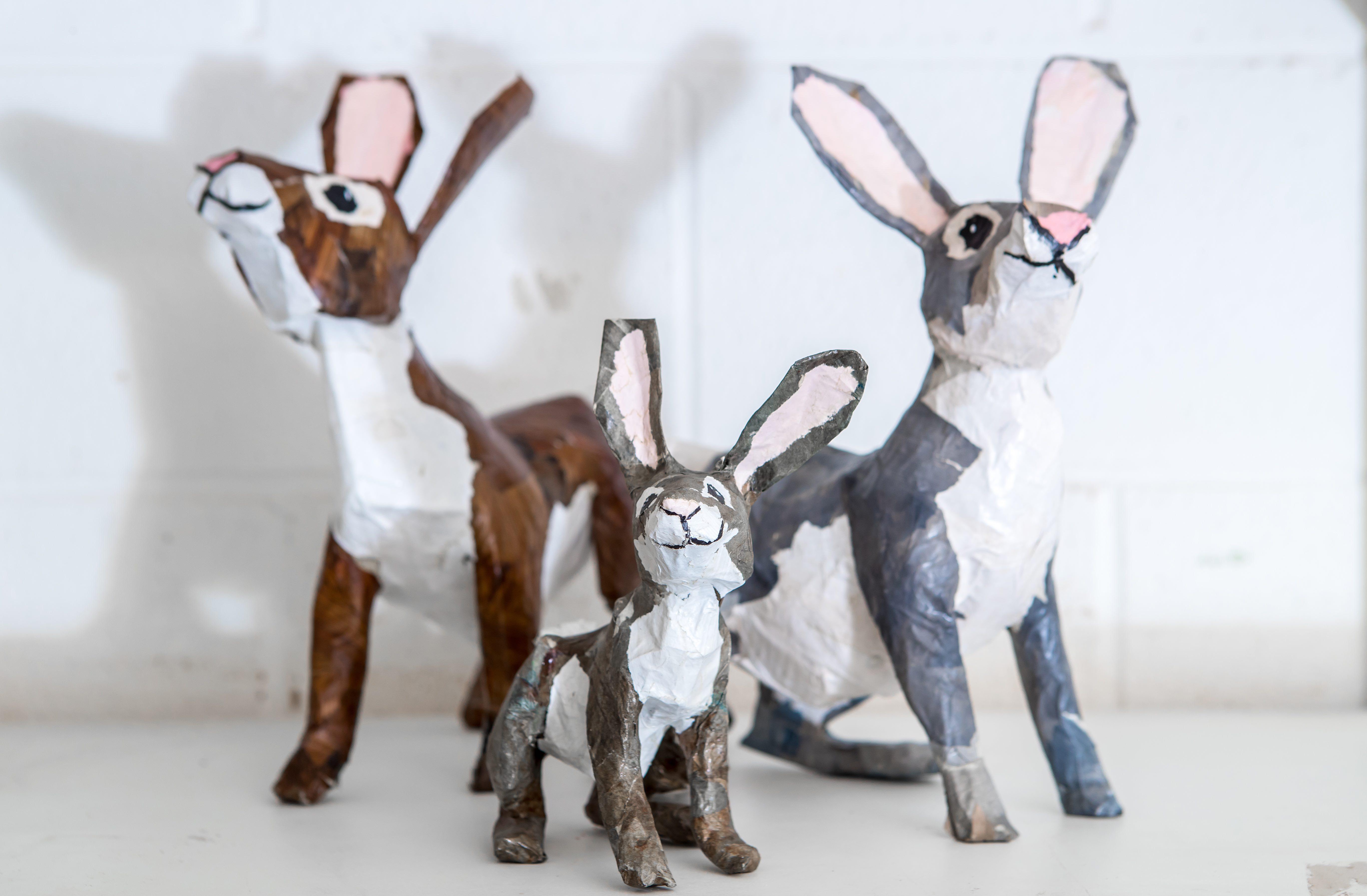Paper Mache Easter Bunnies