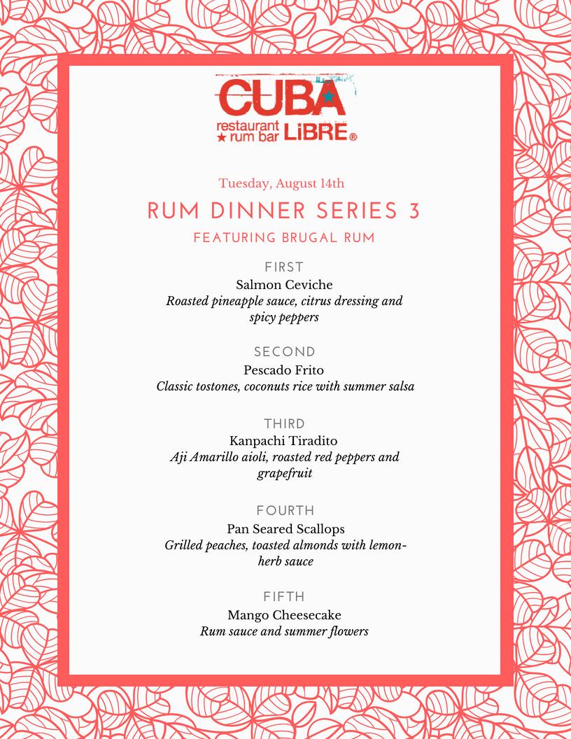 Rum Dinner #3 Menu