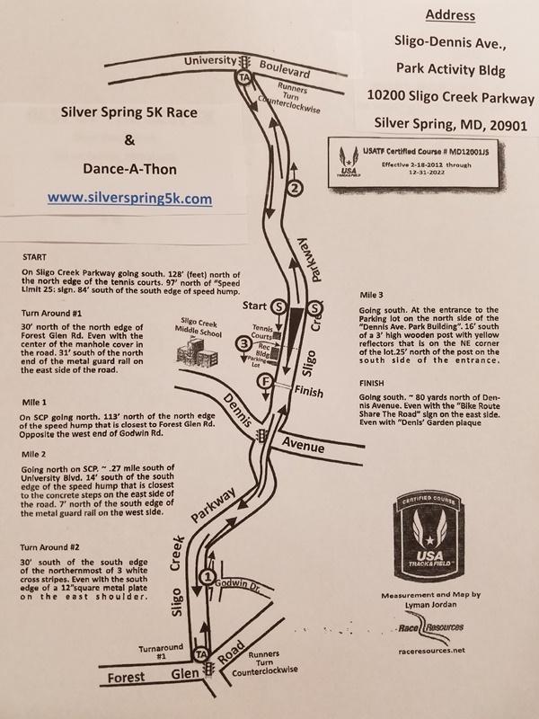 Silver Spring 5K Course Map