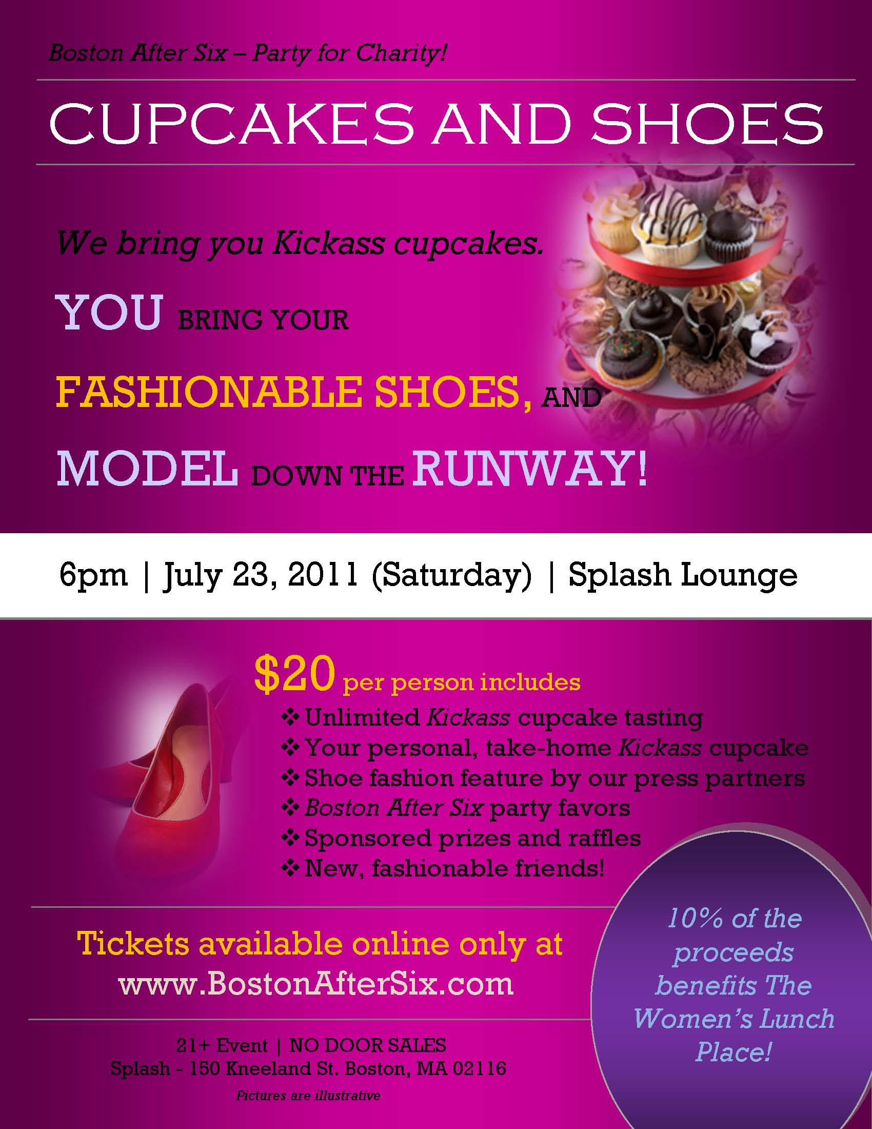 Poster - Party for Charity - CUPCAKES & SHOES Benefiting The Women's Lunch Place