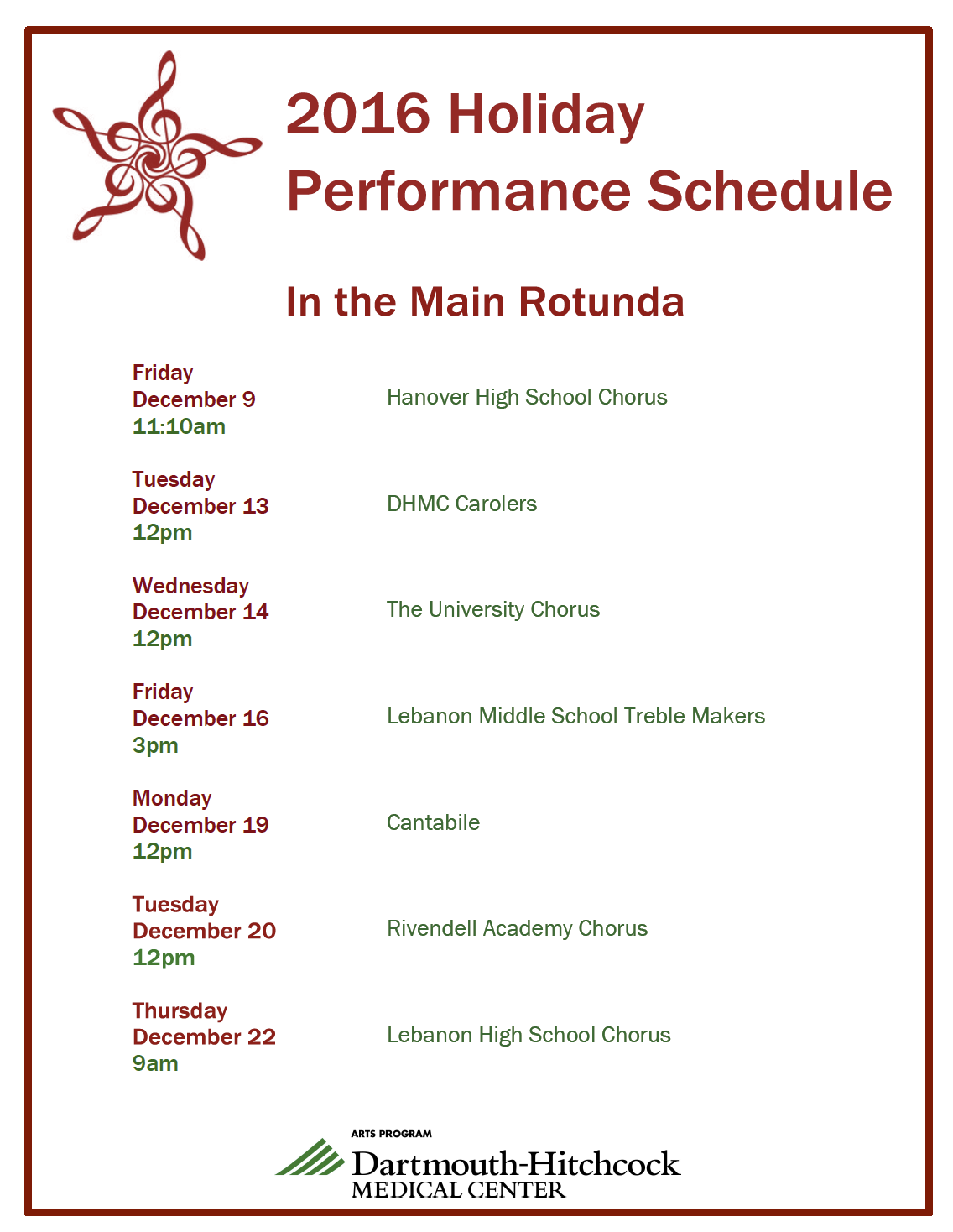 DHMC Holiday Performance Schedule 2016