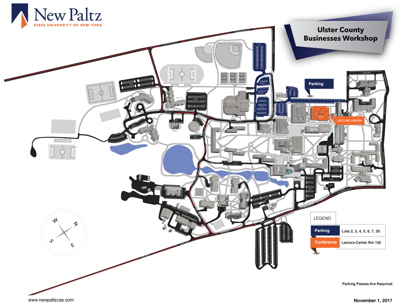 Map of parking locations for SUNY New Paltz Lecture Center