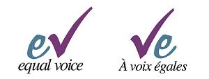 Equal Voice logos Eng & Fre