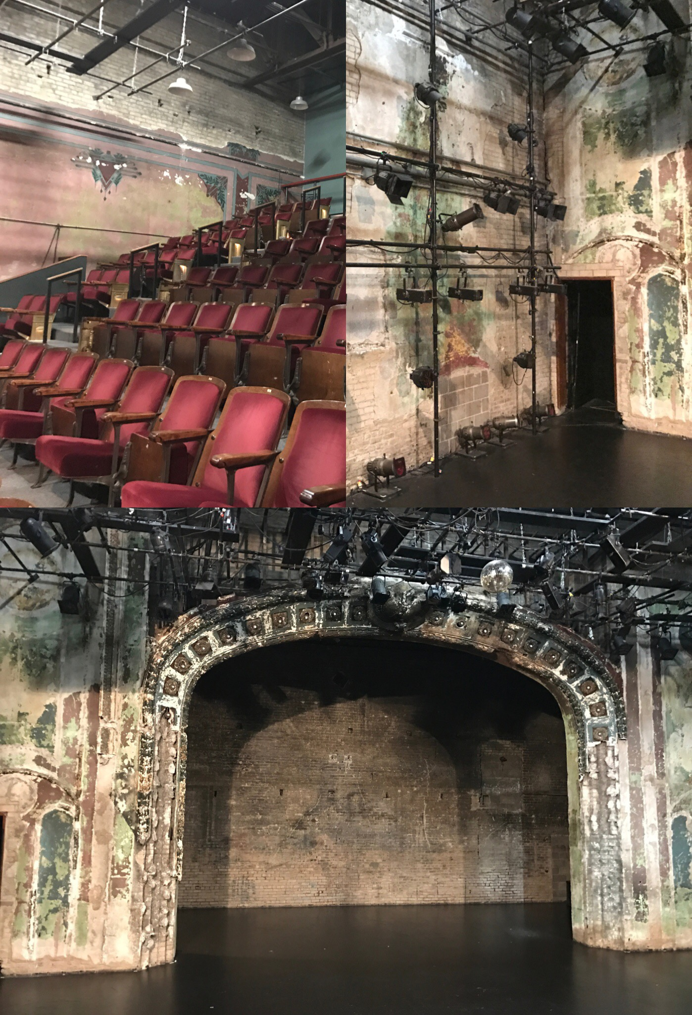 Images of the Southern Theatre with original brick work from the 1920s and red velvet chairs