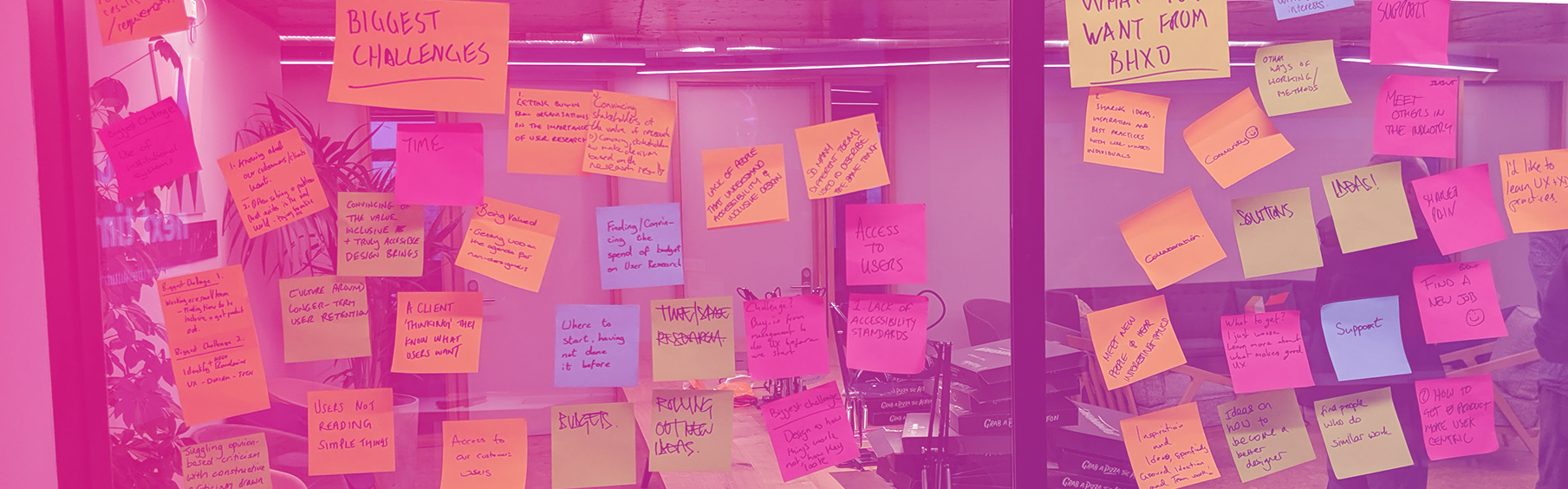 Photograph of post-its from the first BHXD event