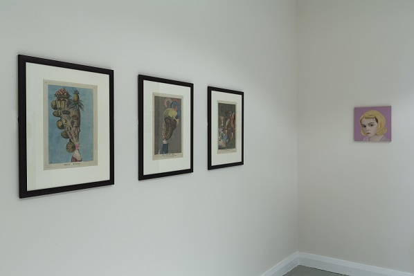 Installation view of Bristle: Hair and Hegemony with the Darly Prints and the Cristina Bunello painting
