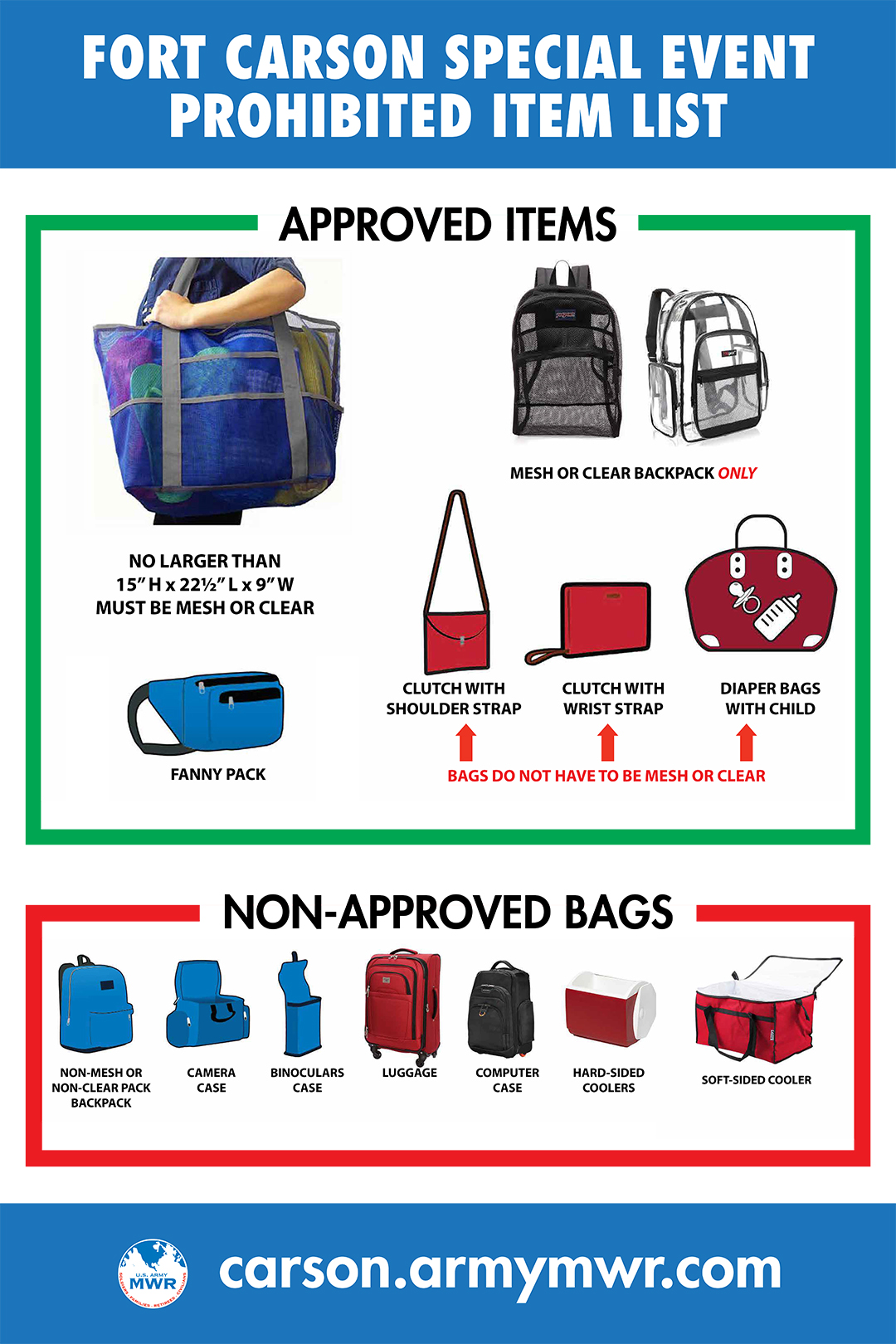 Fort Carson Bag Policy