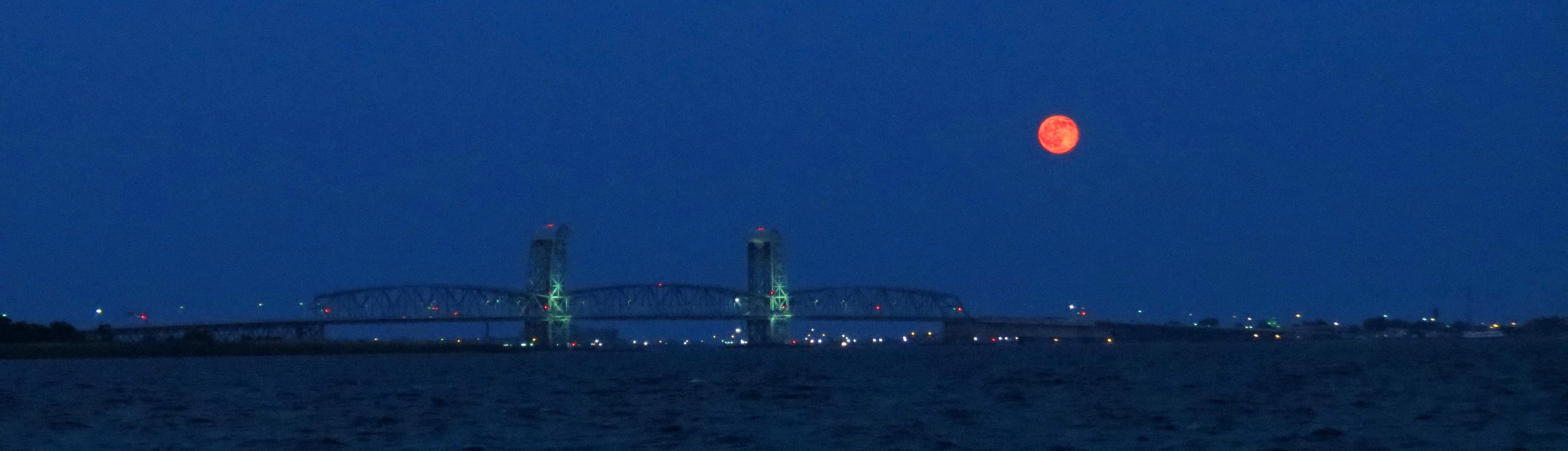 Plumb Beach - Full Moon Rising Over the Marine Parkway Bridge