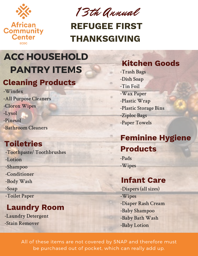 Basic Needs Pantry List