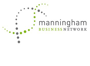The words Manningham Business Network in green and grey text