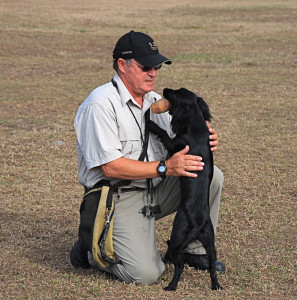 Martin Deeley training canine