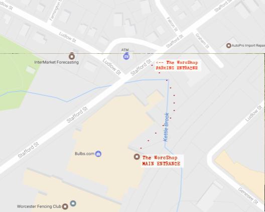 WorcShop main entrance map