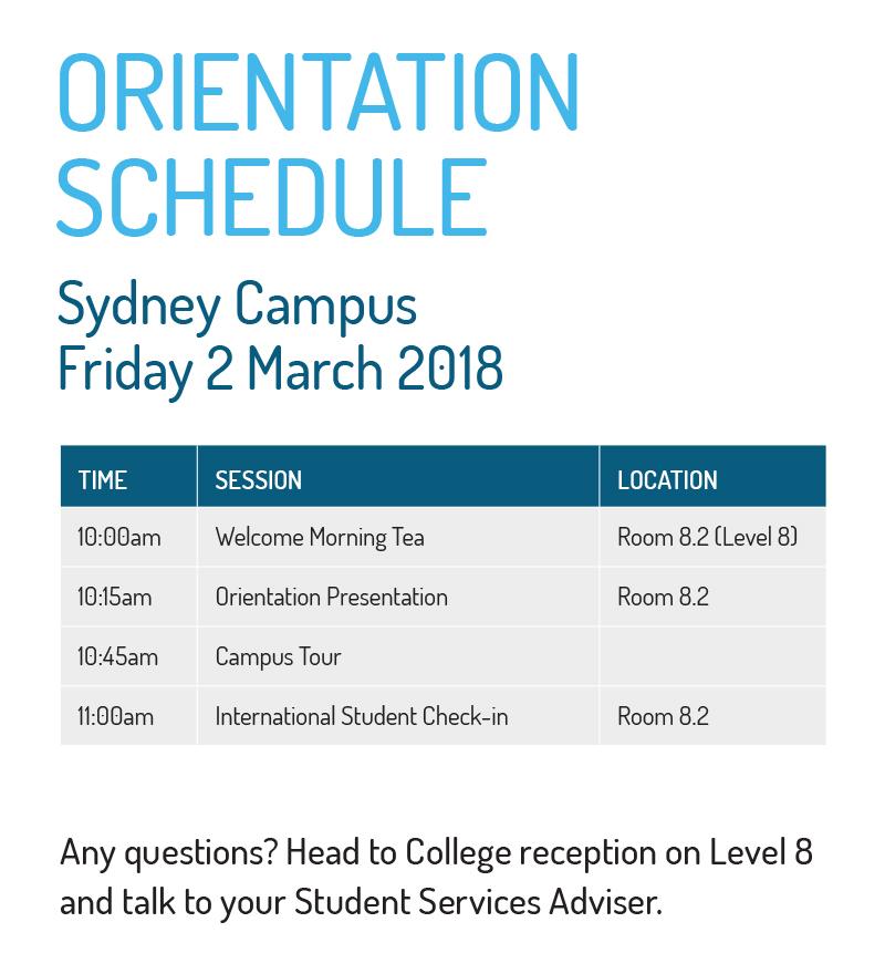 Sydney Campus Orientation Schedule