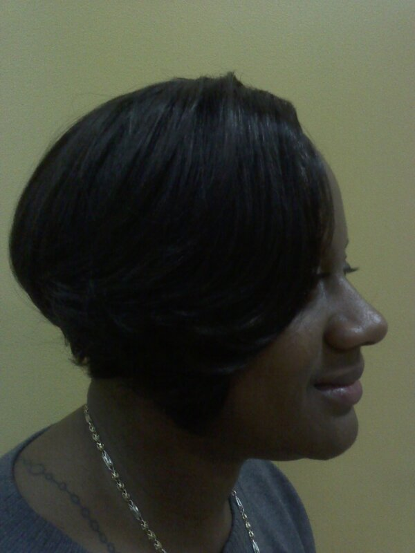 full long sew in cut in short style prior to taking out