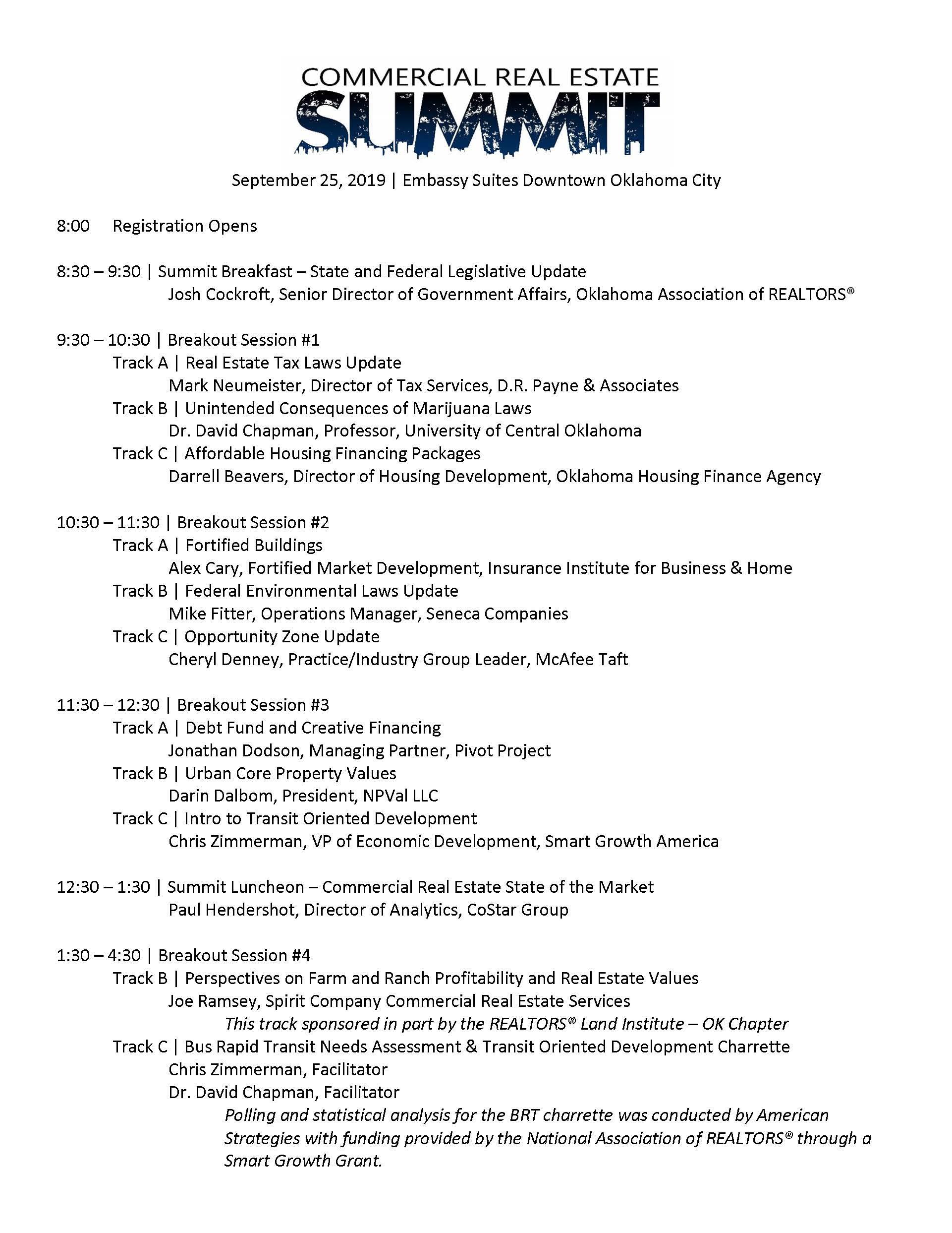 Updated Summit Schedule