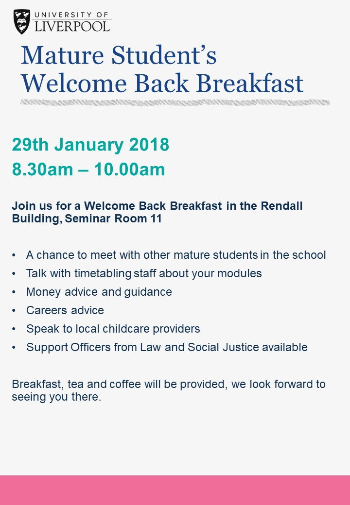Mature Student welcome Back Breakfast