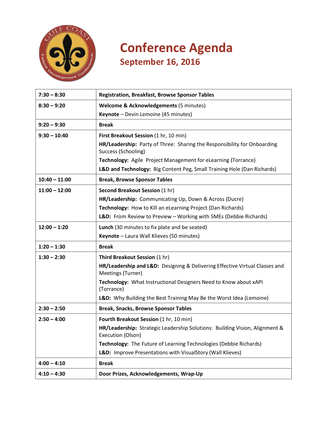 conference agenda and sessions