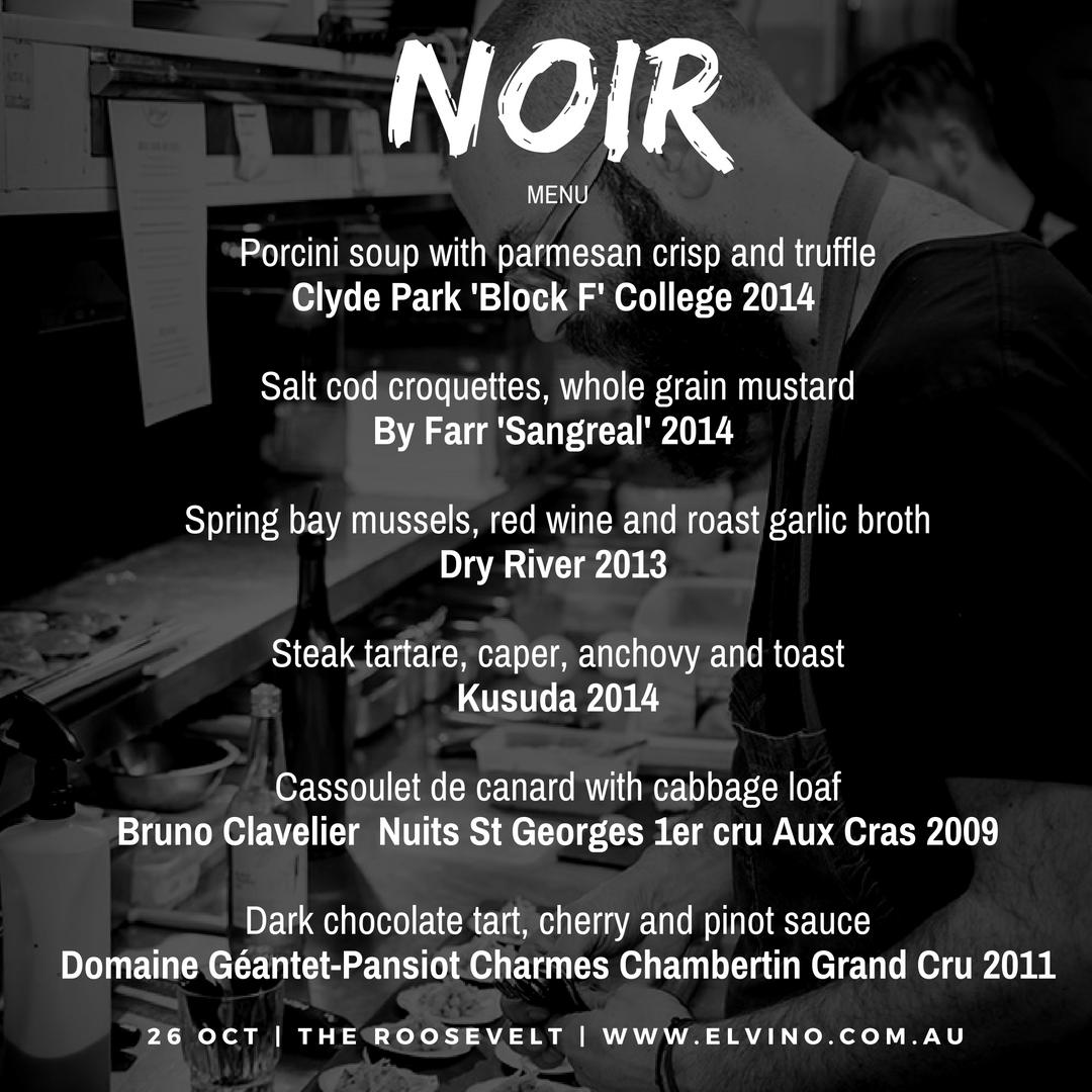 Pinot Noir Wine Tasting Menu