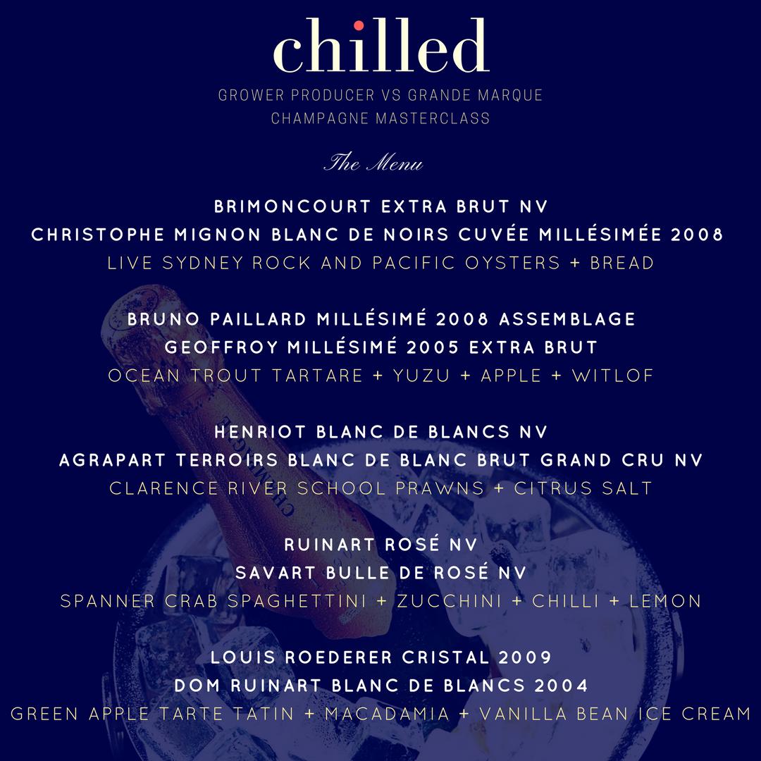Chilled El Vino Champagne Tasting Dinner Love Fish Barangaroo