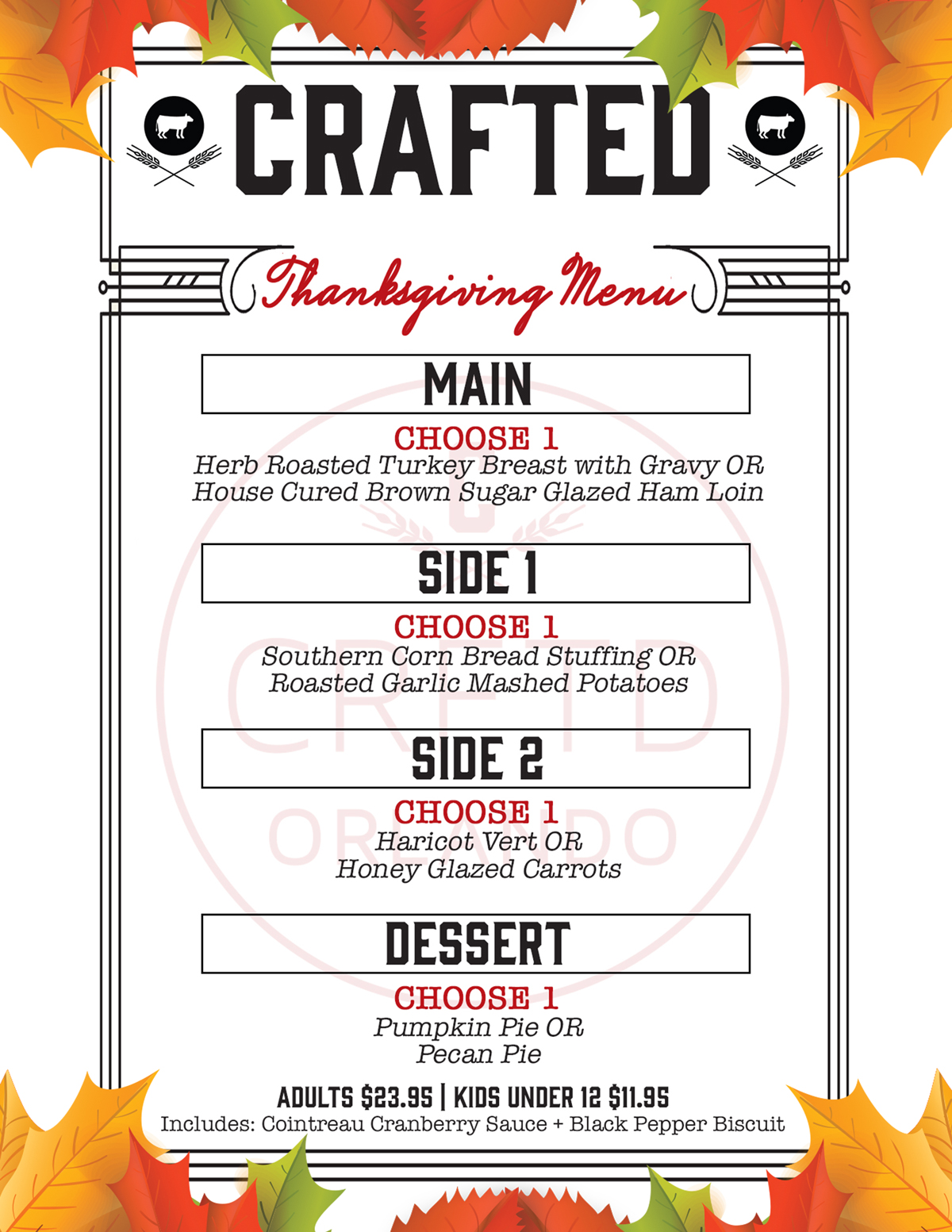 Crafted Thanksgiving Menu