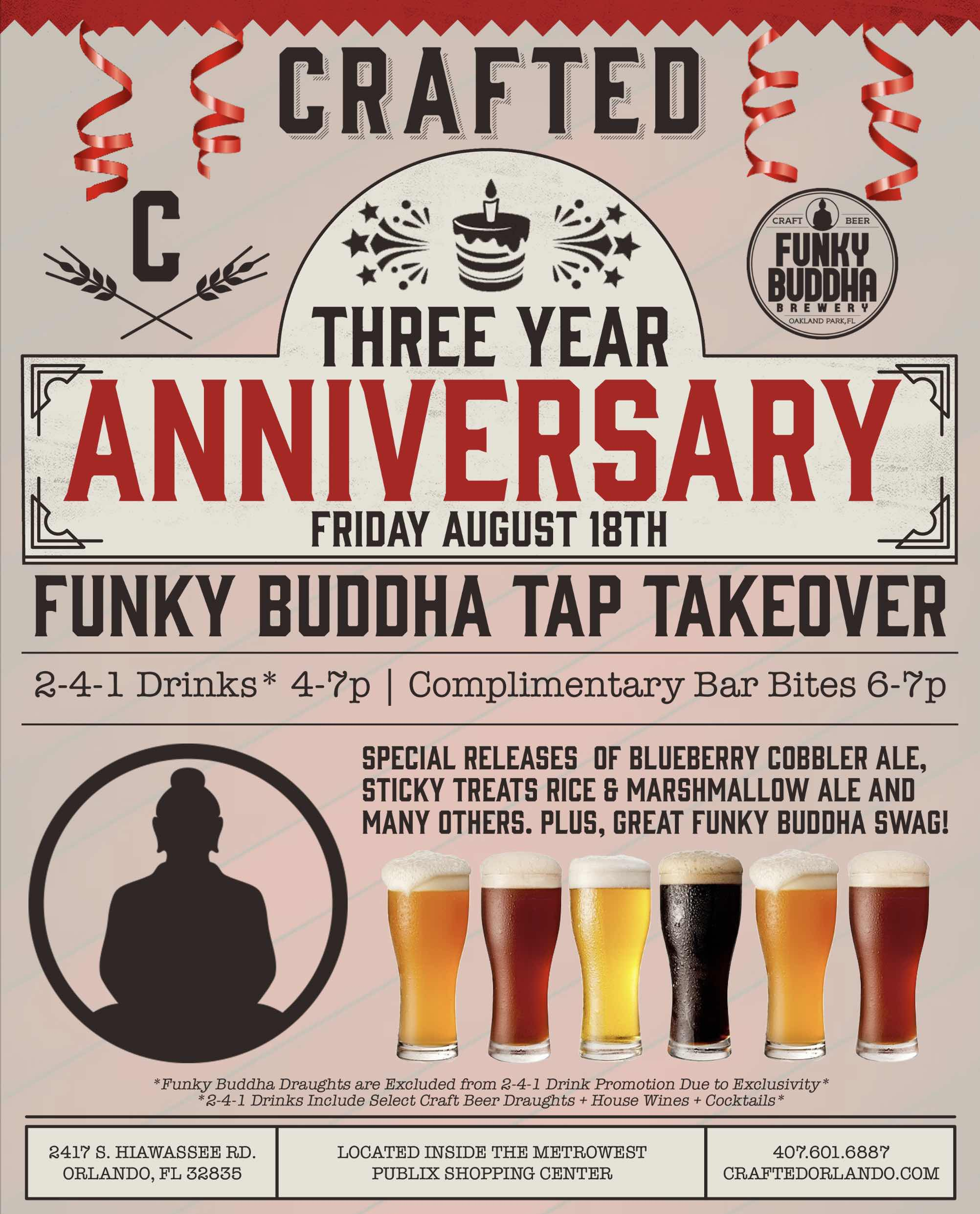 Crafted 3 Year Anniversary Funky Buddha Tap Takeover