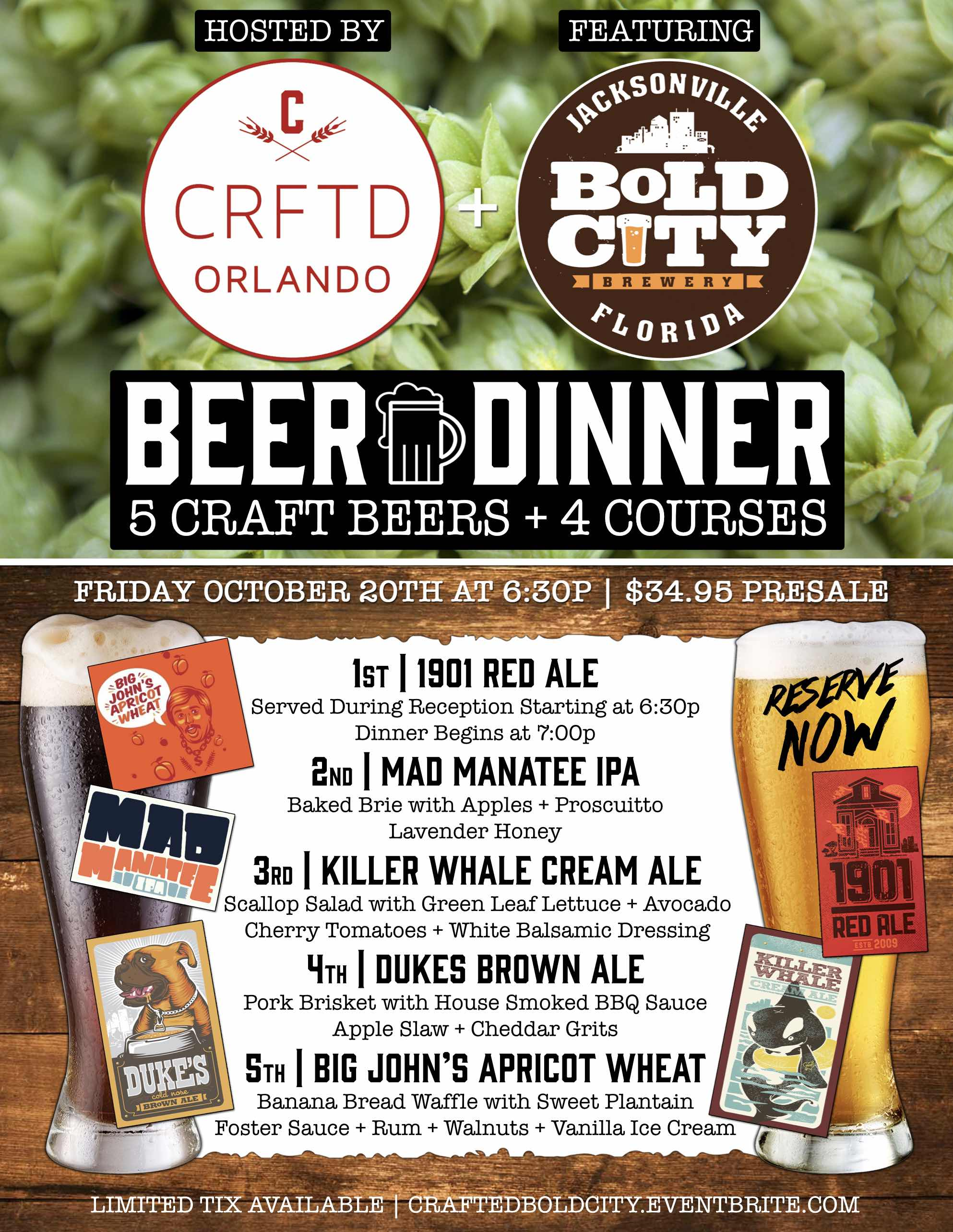 Crafted & Bold City Beer Dinner
